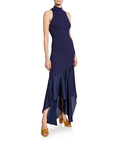Dilan High-Neck Sleeveless Combo Dress