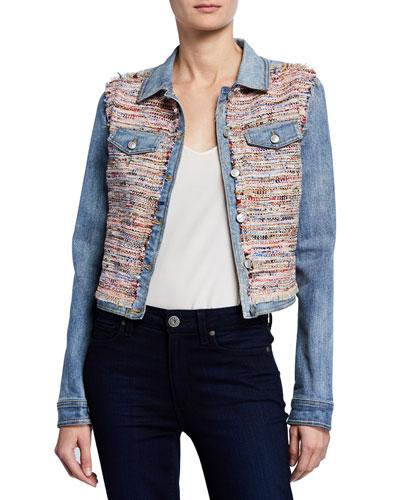 Montie Tweed Combo Cropped Denim Jacket