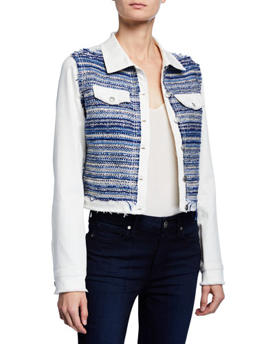 Barry Button-Front Denim & Tweed Combo Jacket
