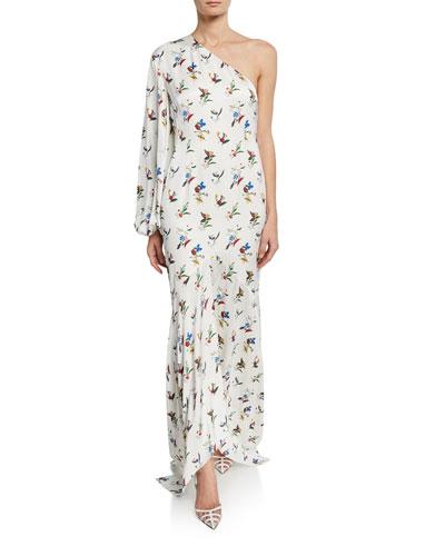 Savon Floral One-Shoulder Asymmetric Dress