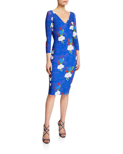Naktis Floral-Print V-Neck 3/4-Sleeve Bodycon Dress