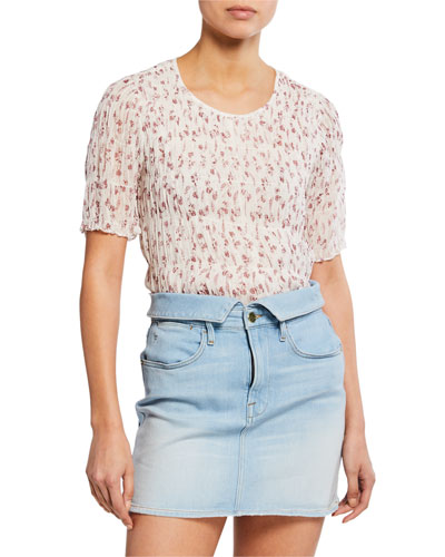 Floral-Print Smocked Short-Sleeve Top