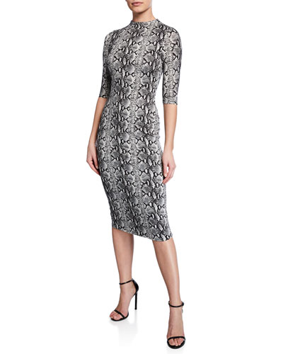Delora Snake-Print Mock-Neck Elbow-Sleeve Fitted Dress