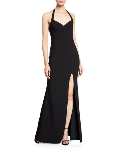 Claire Halter Gown with Thigh-Slit