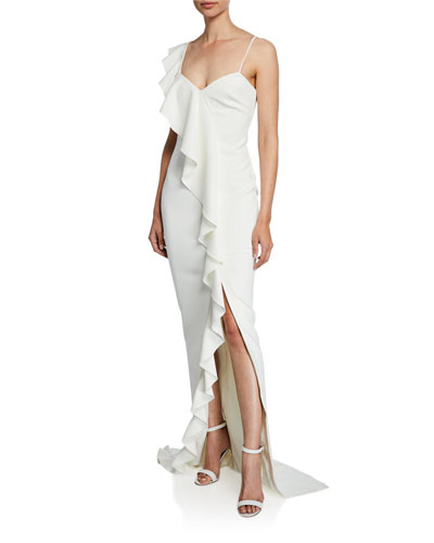 Kilkenny Sleeveless Asymmetric Ruffle Gown