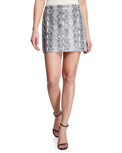 Elana Snake-Print Leather Mini Skirt