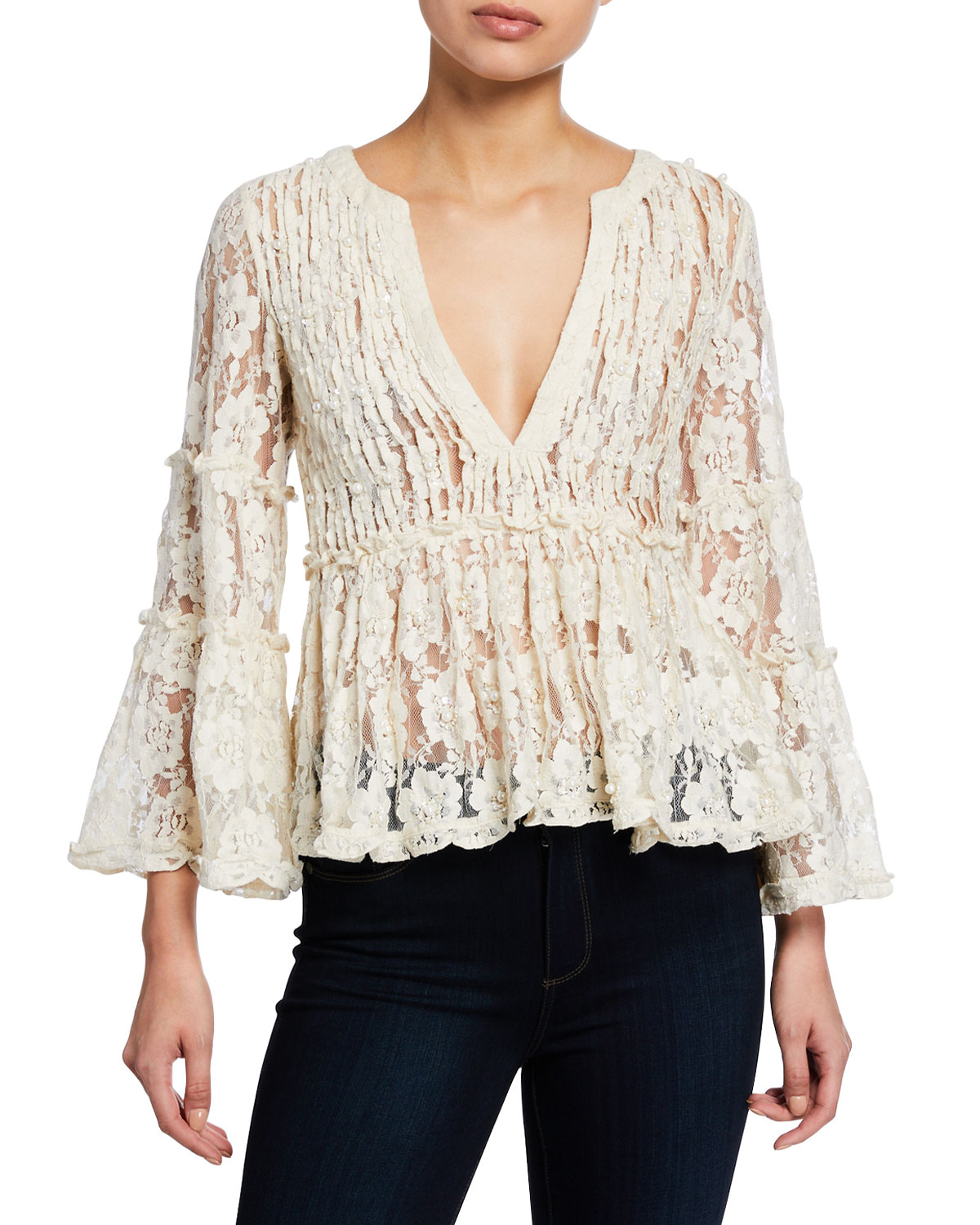 Alexis Tops TANISA V-NECK FLORAL-LACE PEPLUM TOP