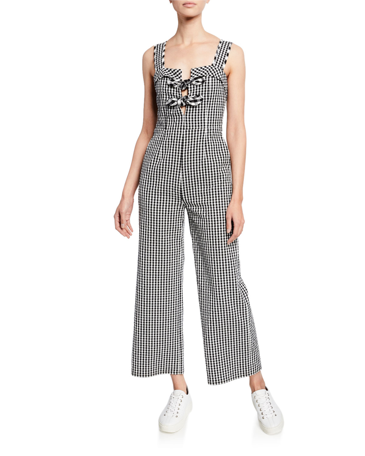 Tanya Taylor Rosalind Gingham Sleeveless Wide-Leg Jumpsuit, BLACK WHITE