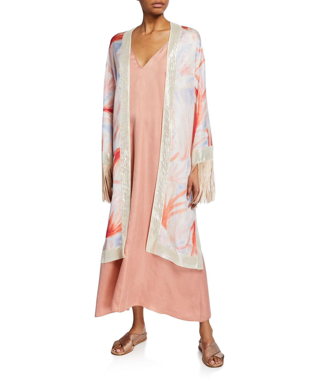 Forte Forte Tops Panarea-Print Silk Fringe Kimono, MULTI PATTERN