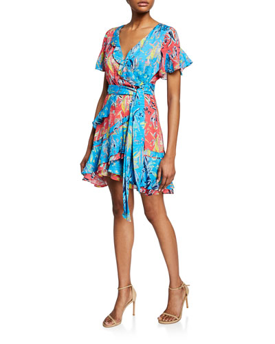 Bianka Printed Ruffle Short Wrap Dress