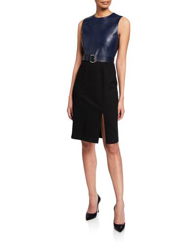 Isadora Sleeveless Leather Combo Dress w/ Belt