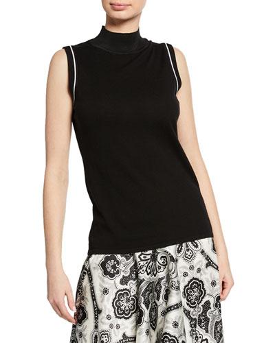54cff211b7be8 Joan Mock-Neck Sleeveless Merino Wool Sweater Quick Look. Elie Tahari