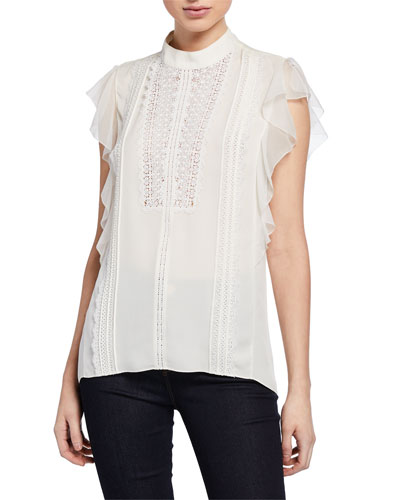 d8fd77abc93700 Antoinette Mock-Neck Ruffle-Sleeve Blouse with Lace Quick Look. Elie Tahari