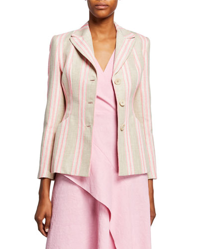 Sasha Striped Jacket with Embroidery