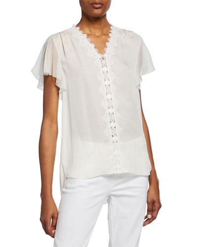 Francine V-Neck Flutter-Sleeve Silk Blouse with Scallop Lace