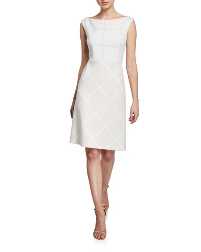 fae082abae Lacey Bateau-Neck Cap-Sleeve Two-Tone Dress
