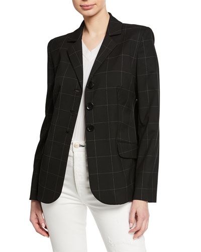Camila Grid Button-Front Jacket
