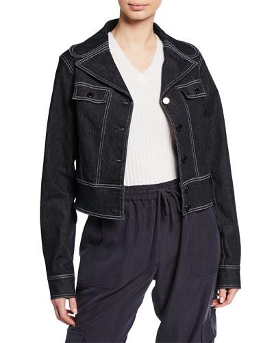 Poppy Button-Front Denim Jacket w/ Contrast Stitching