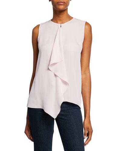7176505193c Pernilla Sleeveless Drape-Front Silk Blouse