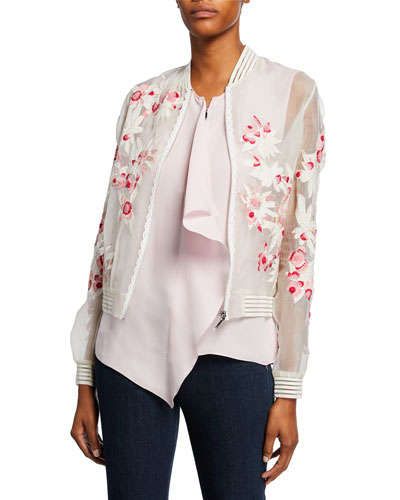 Brandy Embroidered Silk Bomber Jacket