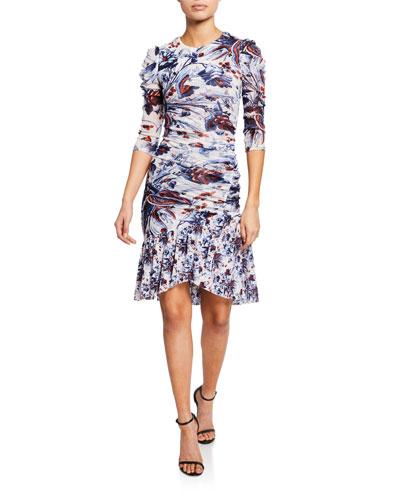 13c086628d83c Lila Floral Ruched Flounce Dress