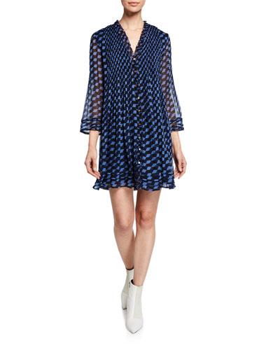 Layla Silk Pattern Pleated Shift Dress