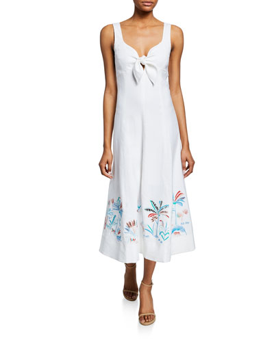 Yolanda Sleeveless Tie-Front Midi Dress