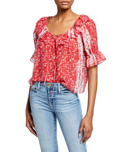 Longoria Ditsy Floral Ruffle Top