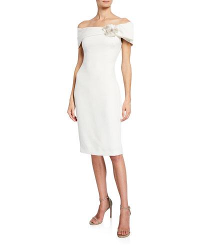 Off-the-Shoulder Short-Sleeve Sheath Dress w/ Flower Detail
