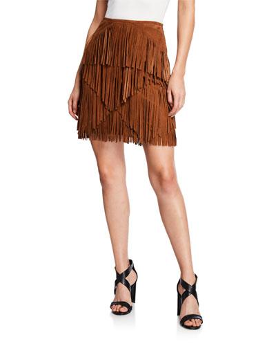 Suede Fringe Mini Skirt