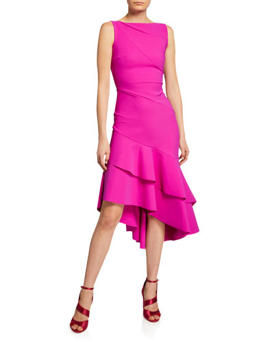 Kennah Sleeveless Asymmetric Flounce-Hem Dress