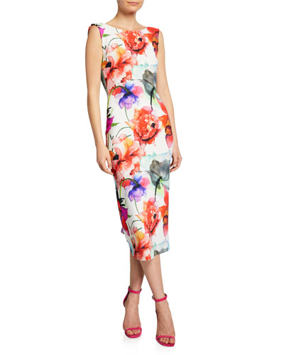 Madereh Floral-Print Sleeveless Midi Dress w/ Flounce Detail