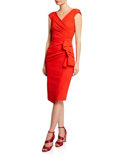 Zelly V-Neck Bonded Cap-Sleeve Shirred Dress