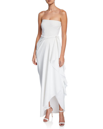 Nyaveth Strapless Bustier Side-Drape Long Dress