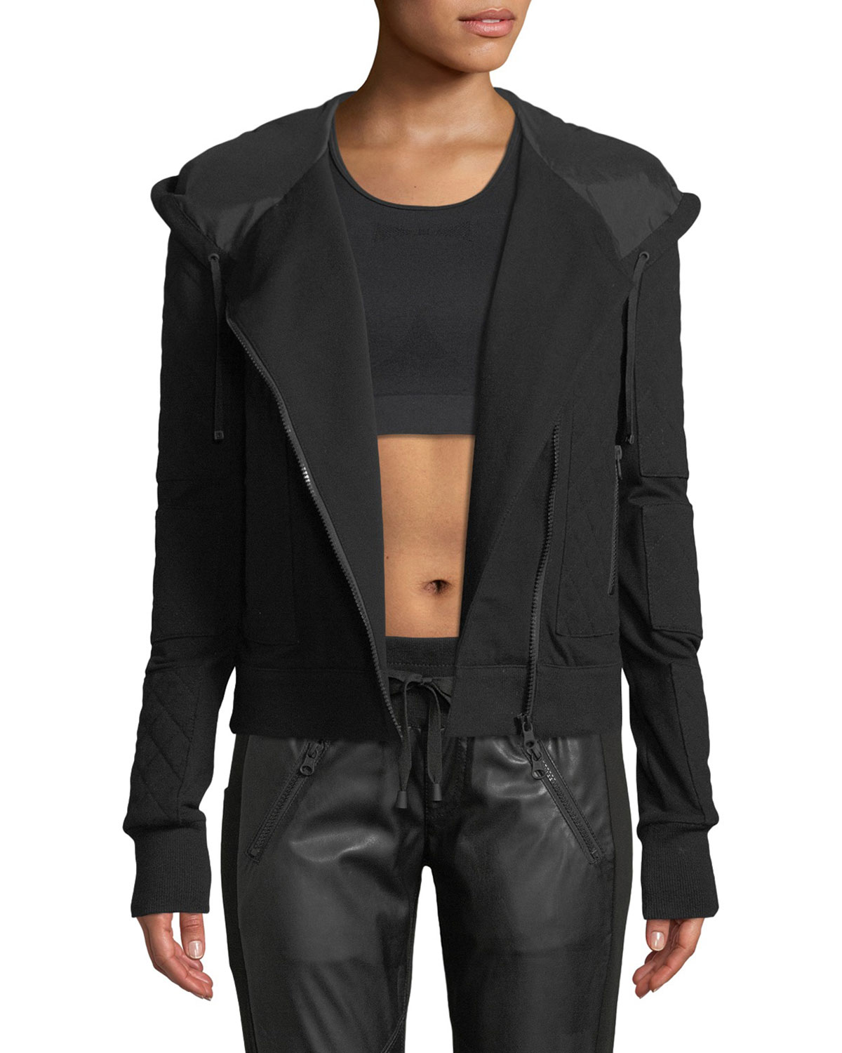 BLANC NOIR French Terry Mesh Zip-Front Moto Jacket in Black
