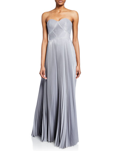 Strapless Pleated Lame Gown with Metallic Trim