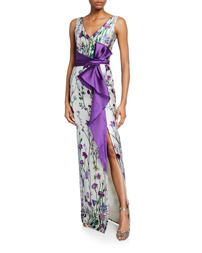 Floral-Print V-Neck Sleeveless Mikado Gown w/ Front Slit & Draped Belt