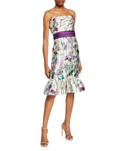 Floral-Print Strapless Mikado Dress with Bow Detail & Ruffle Hem