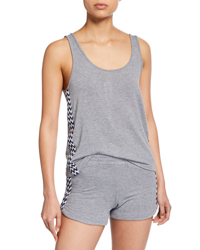 Loose Scoop-Neck Tank w/ Zigzag Trim