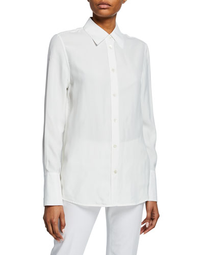 Button-Down Long-Sleeve Silk Jersey Shirt