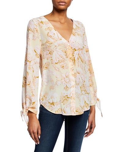 Kimberly Floral-Print Button-Front Long-Sleeve Silk Blouse