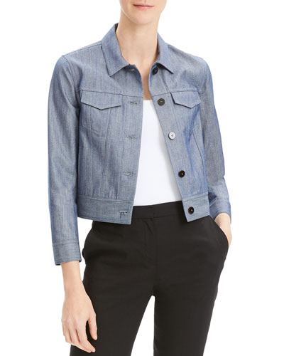 Cropped Button-Front Denim Jacket