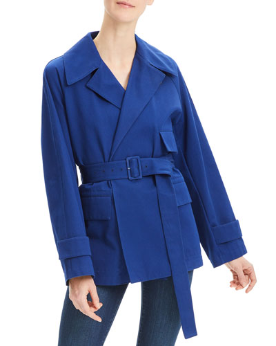 Diagonal Twill Belted Utility Trench Coat