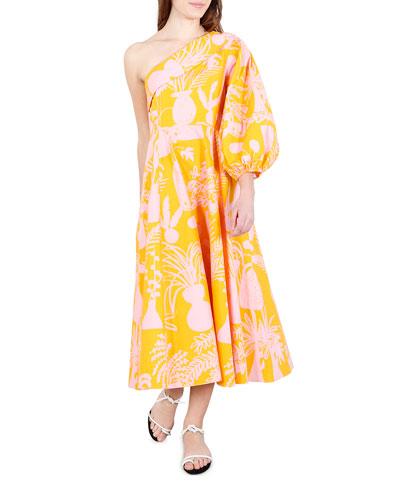 Paige Printed One-Shoulder Midi Dress