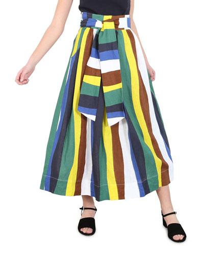 Kimani Striped Linen Skirt