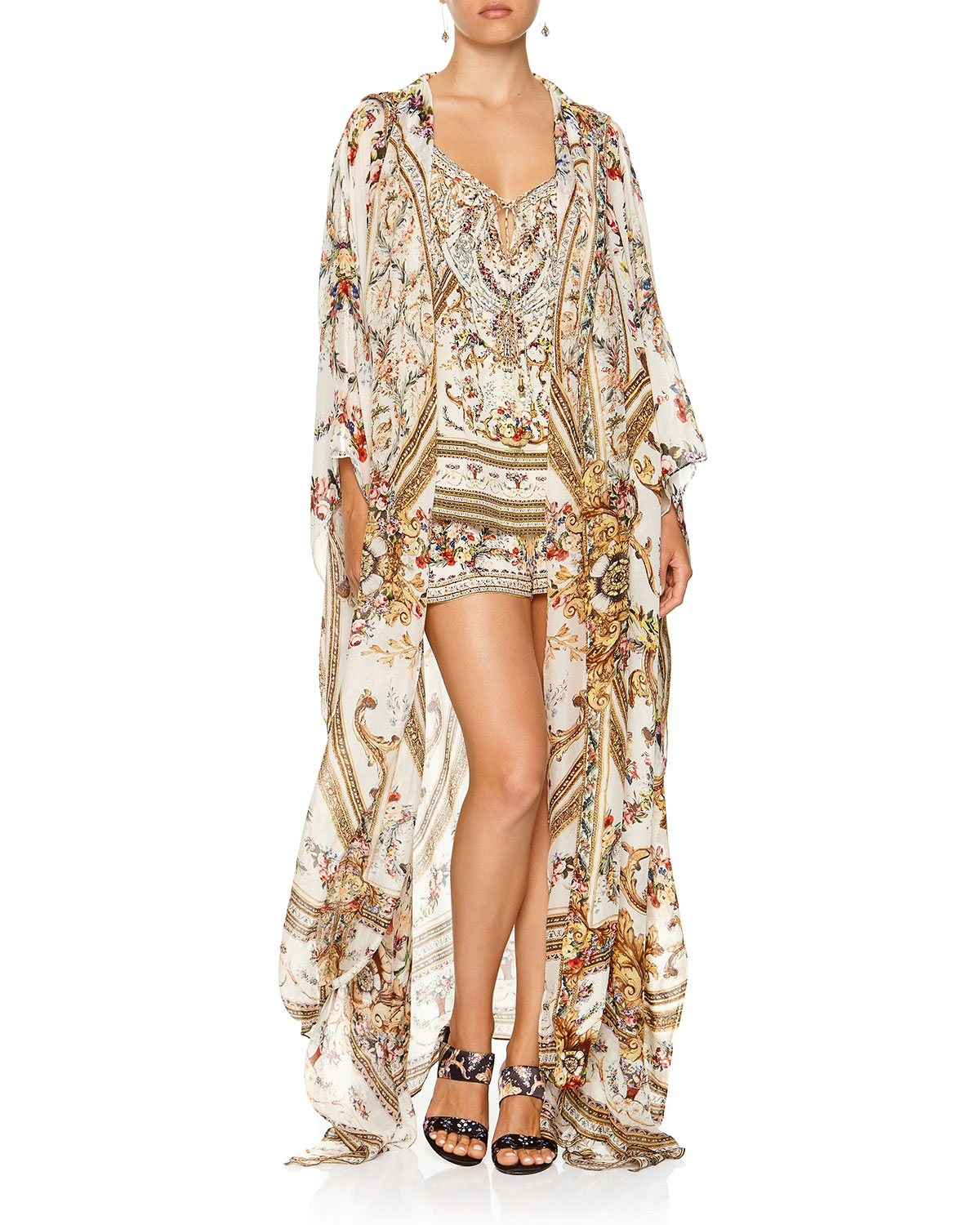 Camilla Tops OVERSIZED FLORAL PRINT SILK ROBE COVERUP