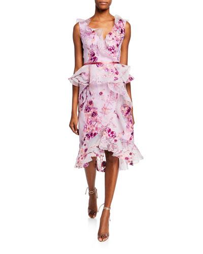 Sleeveless V-Neck Floral Organza Peplum Dress w/ Ruffle Trim