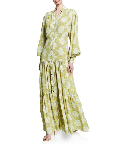 Asim Printed Button-Front Maxi Dress