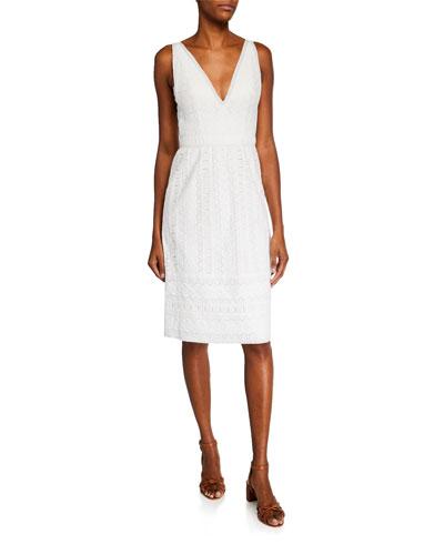 Mateo V-Neck Sleeveless Cotton Lace Dress