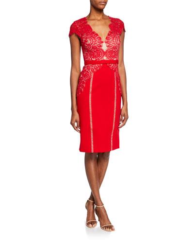 Maya Lace-Bodice Cap-Sleeve Cocktail Dress